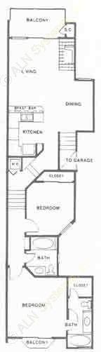 1,060 sq. ft. Cambridge floor plan