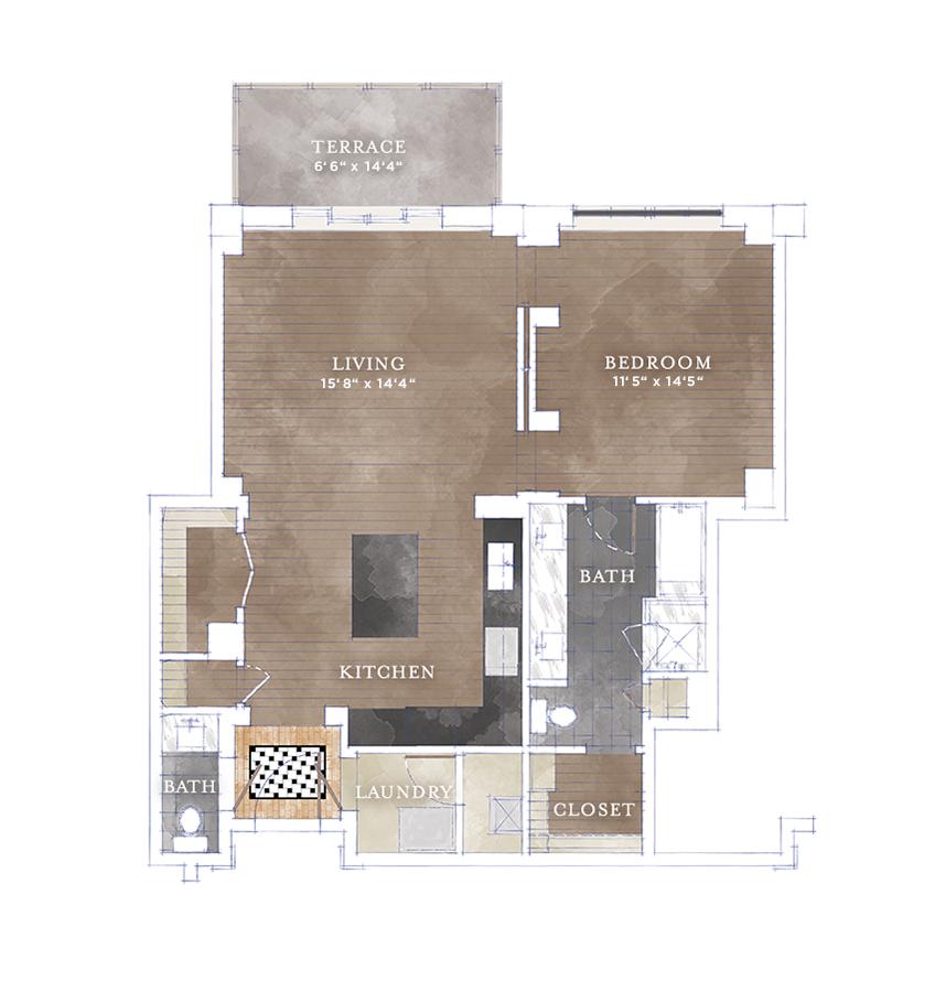 993 sq. ft. A5 floor plan
