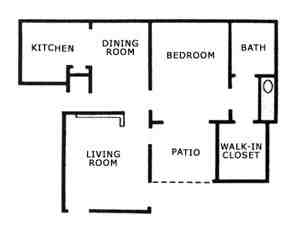 704 sq. ft. A1 floor plan