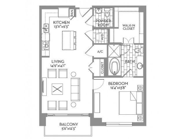 931 sq. ft. Douglas(A.6) floor plan