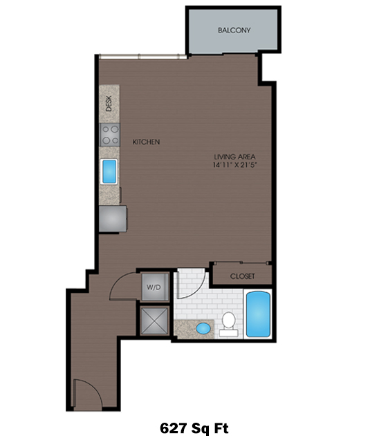 627 sq. ft. C1 floor plan