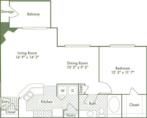 742 sq. ft. A2 floor plan