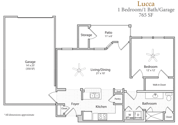 765 sq. ft. Lucca floor plan