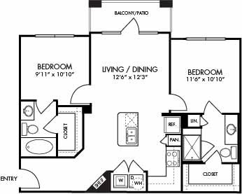 888 sq. ft. Antigua floor plan