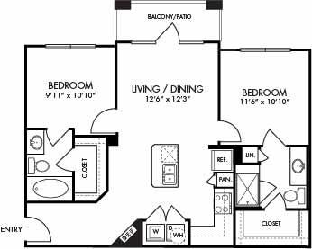 888 sq. ft. Antigua floor plan