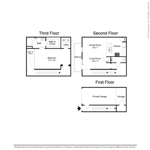 1,127 sq. ft. A3TH floor plan