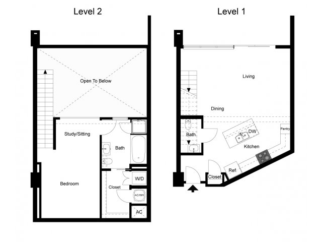 1,037 sq. ft. Loft 1D floor plan