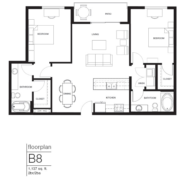 1,137 sq. ft. B8 floor plan