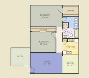 914 sq. ft. B4 floor plan