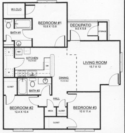 1,164 sq. ft. 60% floor plan