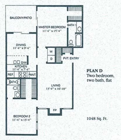 1,048 sq. ft. D1 floor plan