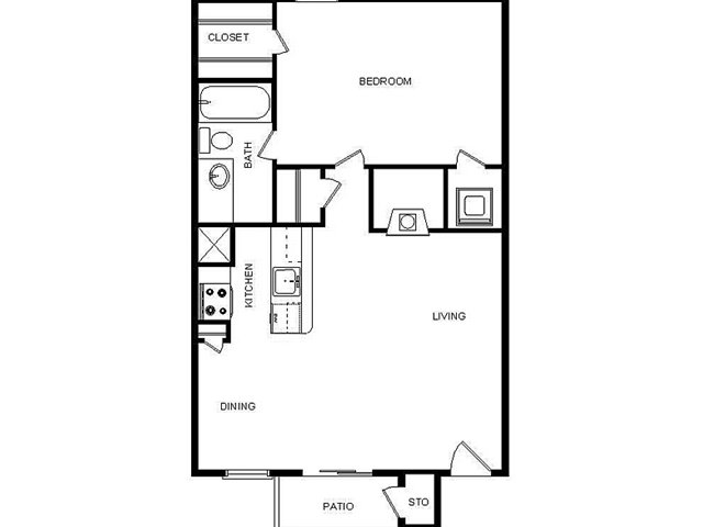 640 sq. ft. I/E floor plan