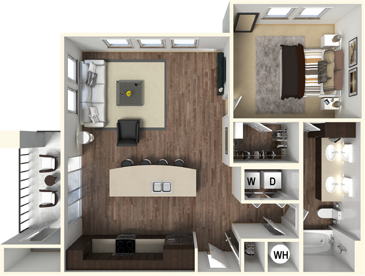 757 sq. ft. A4 floor plan