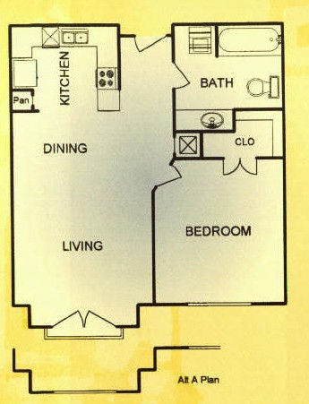 650 sq. ft. 30% floor plan