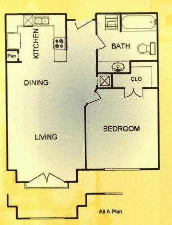 650 sq. ft. 30% floor plan