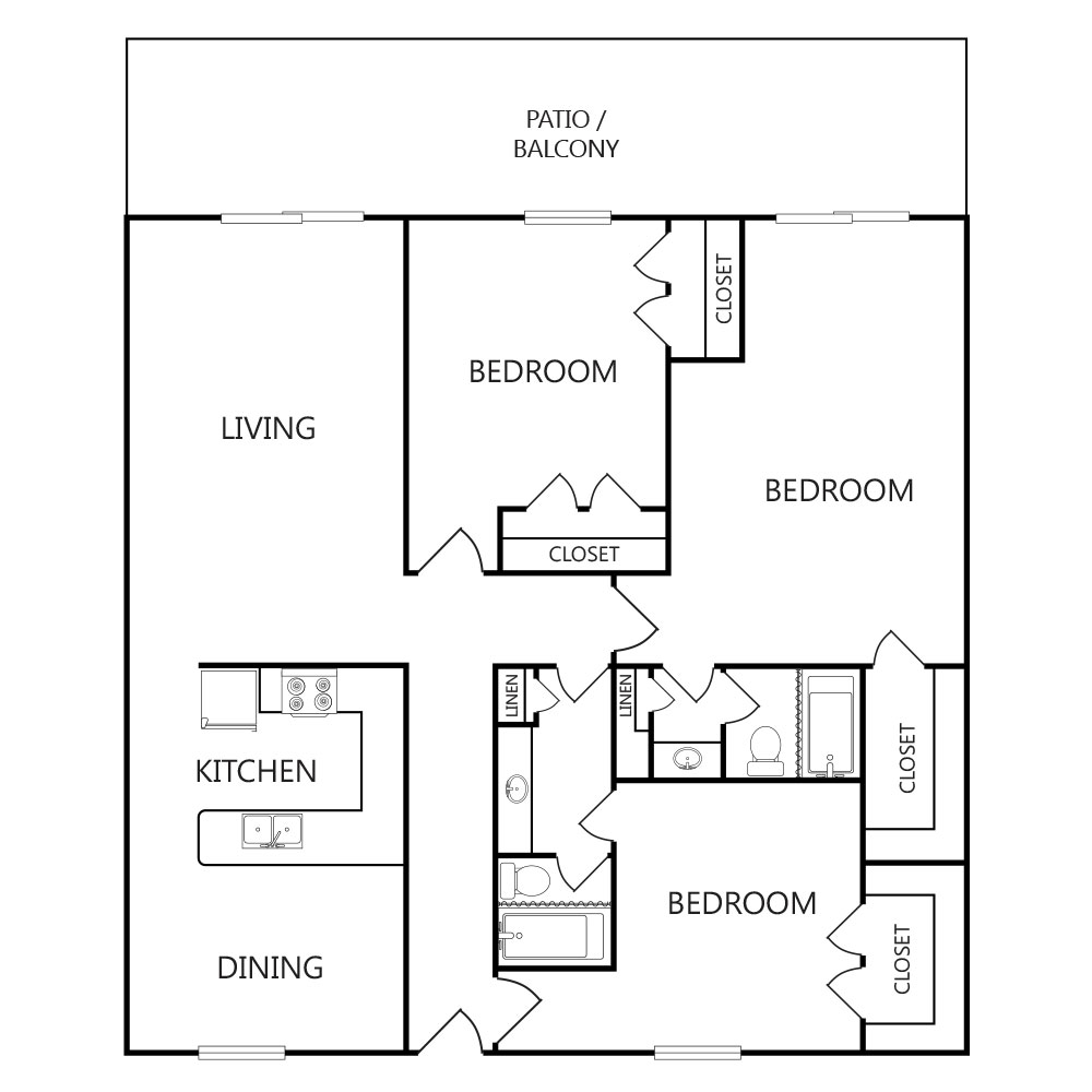 1,620 sq. ft. C3 floor plan