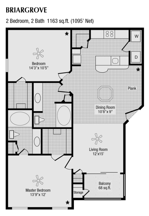 1,095 sq. ft. to 1,163 sq. ft. G floor plan