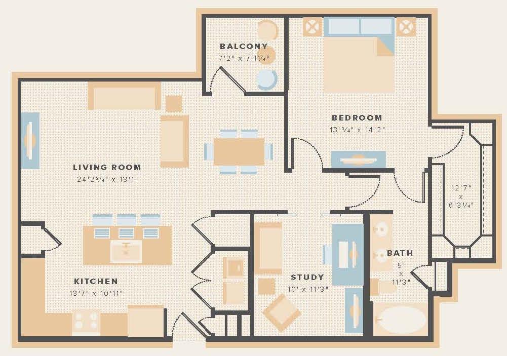 1,056 sq. ft. A9 floor plan