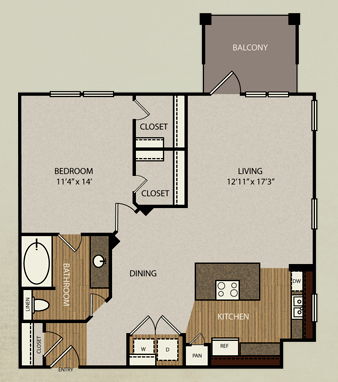 840 sq. ft. A6 floor plan