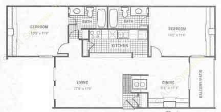989 sq. ft. B2 floor plan