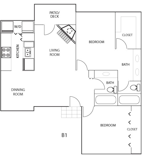 1,065 sq. ft. B1 floor plan