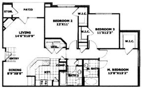 1,248 sq. ft. 60% floor plan
