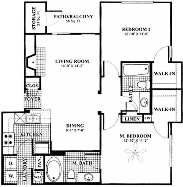 850 sq. ft. to 1,000 sq. ft. B1 floor plan