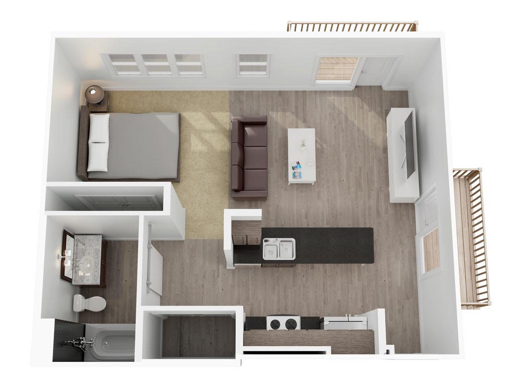 597 sq. ft. to 778 sq. ft. Miller floor plan
