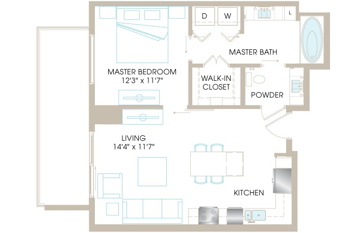749 sq. ft. A3c floor plan
