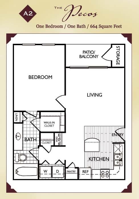 664 sq. ft. Pecos floor plan