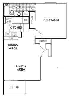 688 sq. ft. Oak A floor plan
