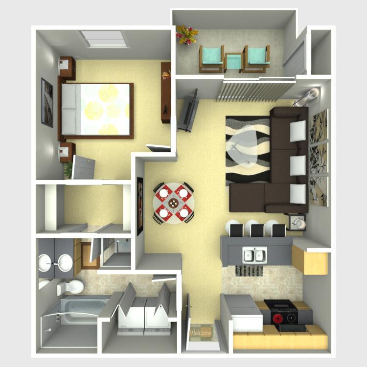 621 sq. ft. Tradition floor plan