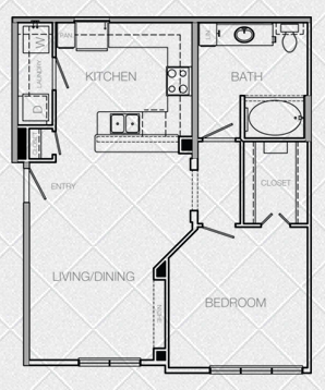 762 sq. ft. A3A floor plan