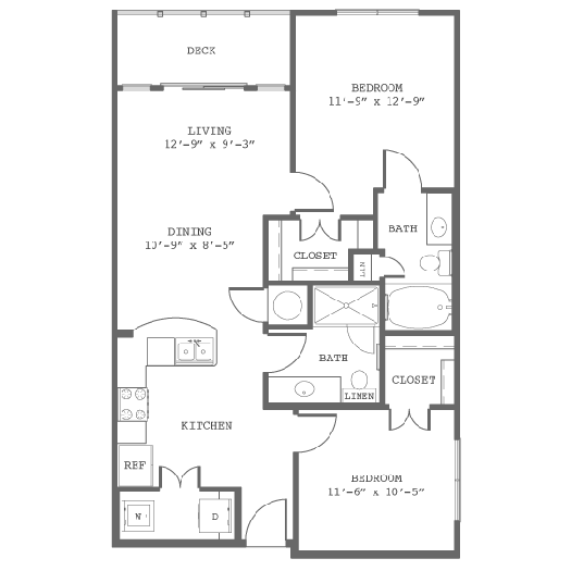 924 sq. ft. B2-D floor plan