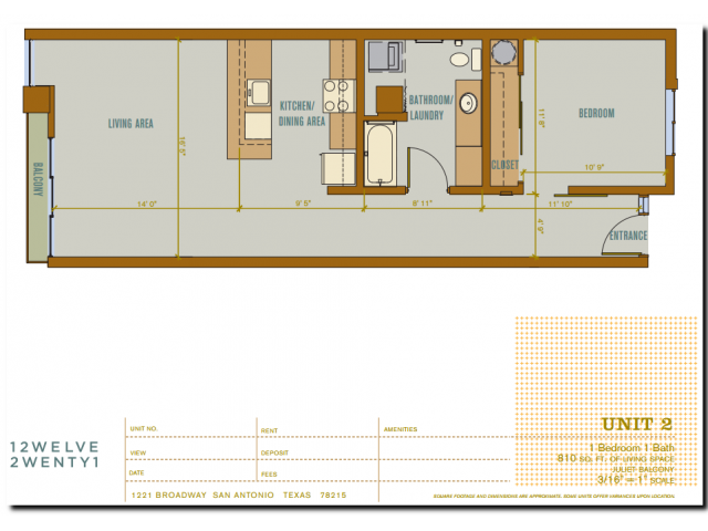 810 sq. ft. 2A2 floor plan