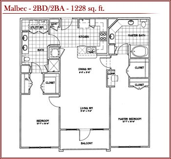 1,228 sq. ft. MALBEC floor plan