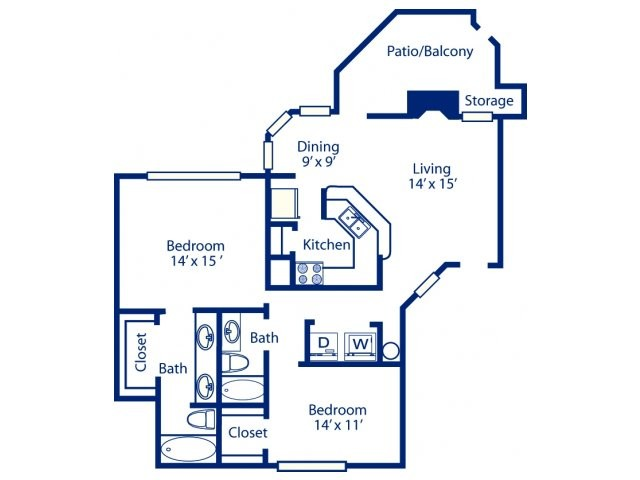 1,062 sq. ft. B5 floor plan