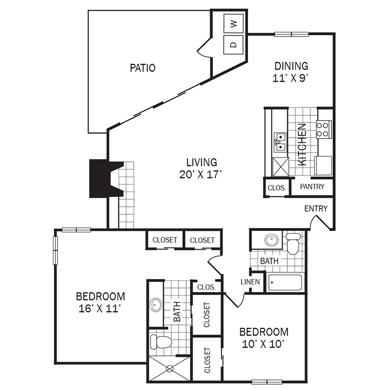 1,226 sq. ft. B2 floor plan
