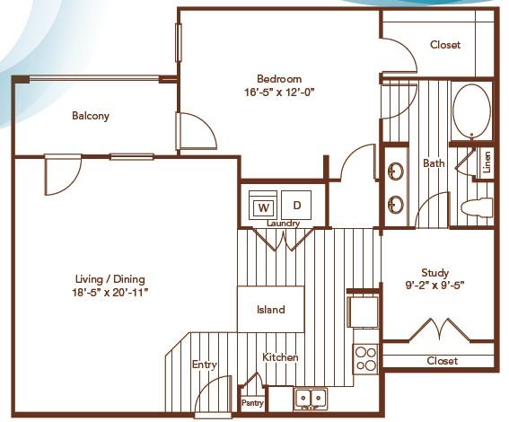 1,191 sq. ft. floor plan