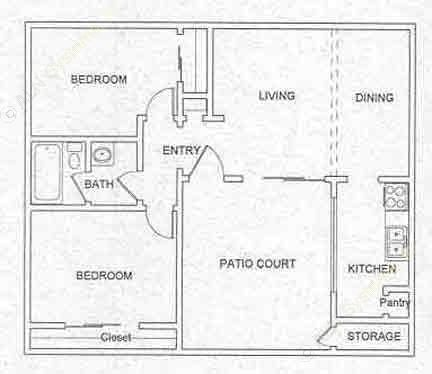 883 sq. ft. B2 floor plan
