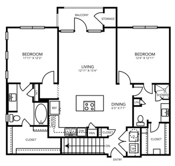 1,080 sq. ft. B4G floor plan