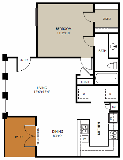 650 sq. ft. Kessler floor plan