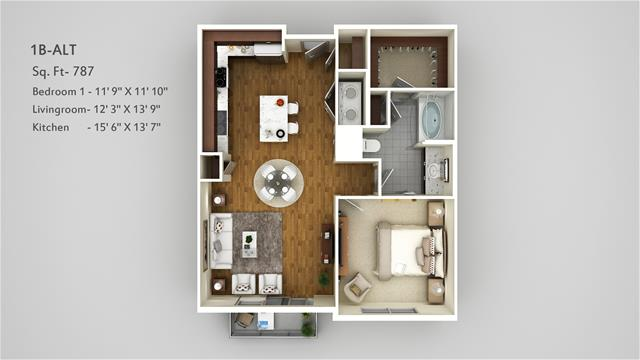 787 sq. ft. 1B Alt floor plan