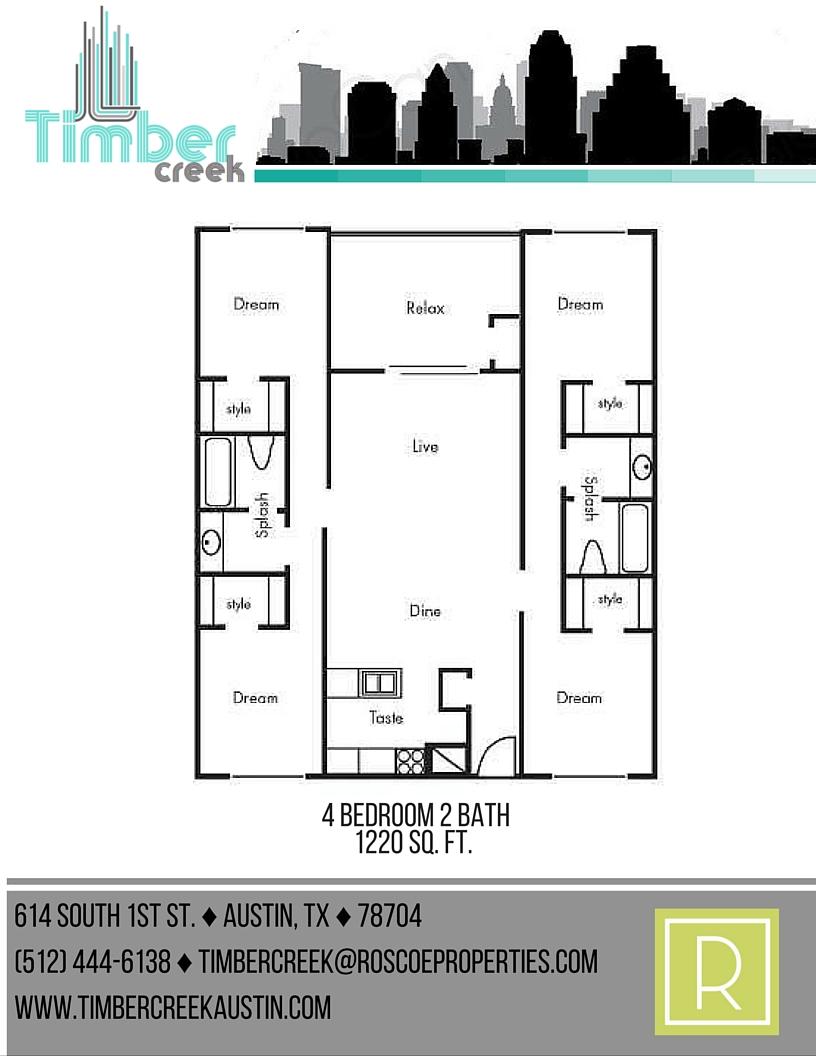 1,220 sq. ft. D1 floor plan