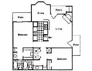 865 sq. ft. F floor plan