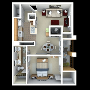 770 sq. ft. A4 floor plan