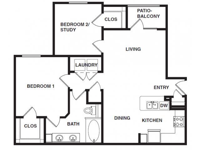 939 sq. ft. B1-HC floor plan
