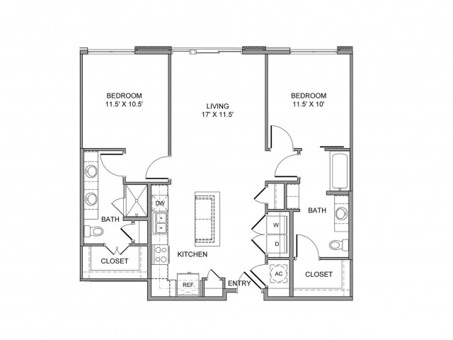 1,075 sq. ft. Lamar floor plan