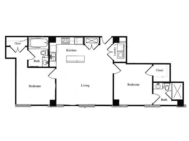 932 sq. ft. P floor plan
