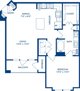 841 sq. ft. A3A floor plan